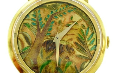 Universal Geneve Yellow Gold Wristwatch with Cloisonne
