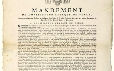 "VENCE (06). 1763. PRISONS OF AIX-EN-PROVENCE (13). MANDATE of Monsignor the Bishop of VENCE (06), giving permission to the Rectors of the work of the Prisons of the City of AIX to make quests in all the Parishes of his Diocese located in Provence.""..."