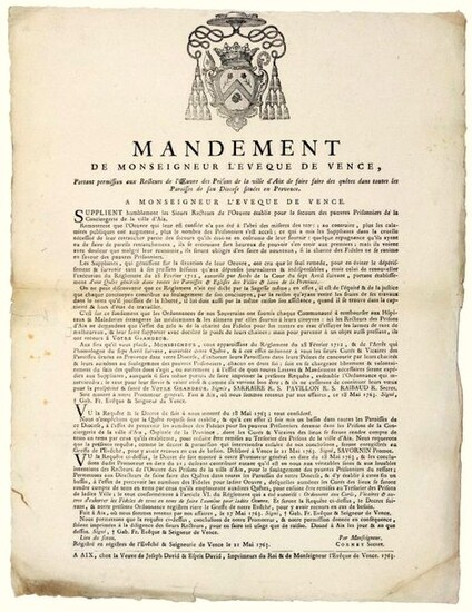 """VENCE (06). 1763. PRISONS OF AIX-EN-PROVENCE (13). MANDATE of Monsignor the Bishop of VENCE (06), giving permission to the Rectors of the work of the Prisons of the City of AIX to make quests in all the Parishes of his Diocese located in Provence.""""..."""