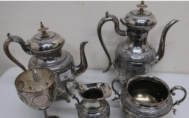 Victorian silver plated four piece tea service, with present...