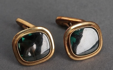 Vintage 14K Yellow Gold Tourmaline Cufflinks