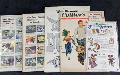 Vintage Disney Advertisements And Magazines Lot Of Five