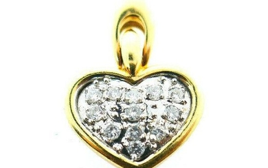 Vintage GSG 14k Yellow and White Gold Diamond Heart