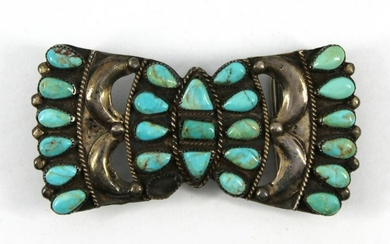Vintage Native American Silver & Turquoise Buckle