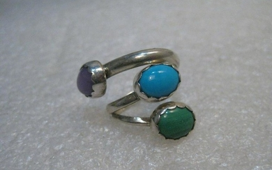 Vintage Sterling Southwestern Bypass Ring, Turquoise