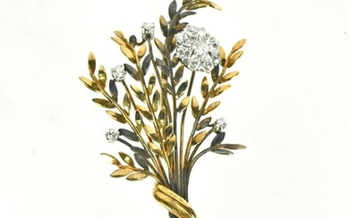 Yellow Gold & Diamond Wheat Spray Brooch