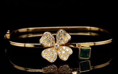1.00ct Emerald, 1.00ctw Diamond & 18K Bracelet