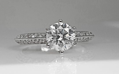 14 kt. White gold - Ring - 1.50 ct Diamond - No Reserve D/VS2
