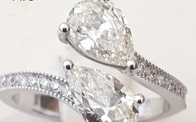 14 kt. White gold - Ring - 1.66 ct Diamond