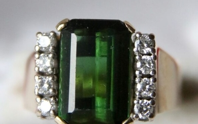 14 kt. Yellow gold - Handcrafted ring - 7.00 ct Tourmaline - (tested) - High quality - G/VS1 Diamonds - handcrafted Germany