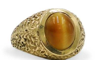 14K Gold Tiger Eye Ring