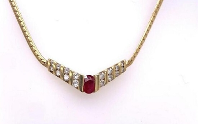 14Kt Gold With 0.68Ct Ruby & 0.68Ct Natural Diamonds