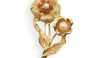 14k Gold, Pearl and Coral Brooch