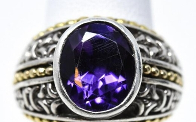 14kt Yellow Gold, Sterling Silver & Amethyst Ring
