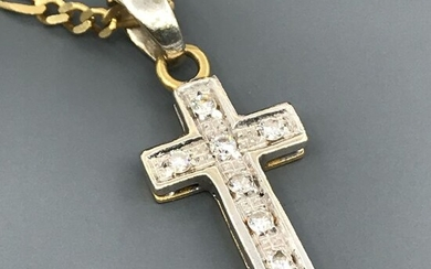 18 kt. White gold, Yellow gold - Necklace with pendant - 0.14 ct Diamond