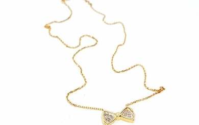 18 kts. Yellow gold - Necklace Diamond