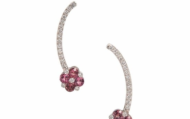 18kt White Gold, Pink Tourmaline, and Diamond Earrings