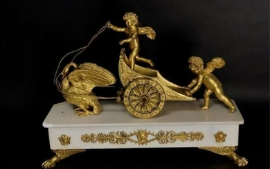 19TH C. EMPIRE STYLE DORE BRONZE AND MARBLE CLOCK
