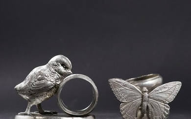 [2] Silver Plate Figure Napkin Holders Butterfly, Chick