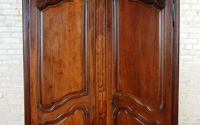 FRENCH WALNUT ARMOIRE SHAPED 2-DOOR C.1820
