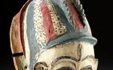 20th C. African Yoruba Painted Wood Gelede Mask