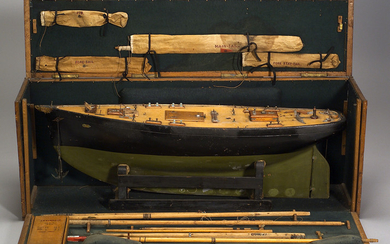 Carved and Painted Wooden Pond Boat with Carrying Case
