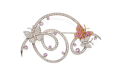 A sapphire and diamond butterfly brooch