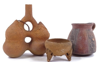3 pieces of Ancient South American terracotta, comprising a ...
