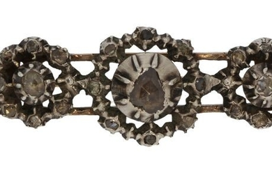 14 kt. Silver, Yellow gold - Brooch Diamond