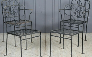 4 Wrought Iron Clover and Vine Patio Chairs
