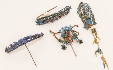 4pc Chinese 19th Cent. Kingfisher Feather Hair