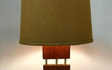 50s Modern Walnut Table Lamp with Metal Rods. Period sh