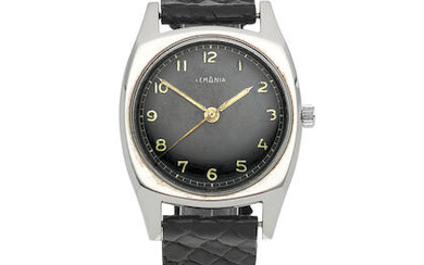 Lemania. A stainless steel manual wind military cushion form wristwatch issued to the Czech Air Force