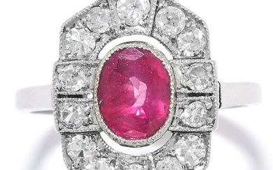 ART DECO RUBY AND DIAMOND RING in 18ct white gold, set