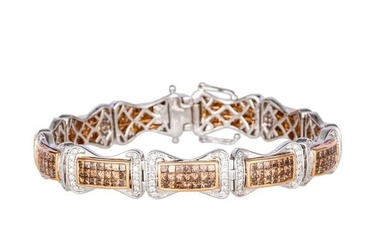 """7.30 CT DIAMOND GOLD BRACELET""L18.1 cm, 29.2 g"