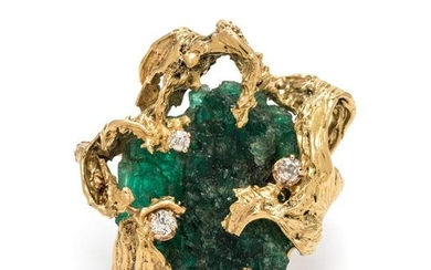 A Brutalist Yellow Gold, Emerald Crystal and Diamond