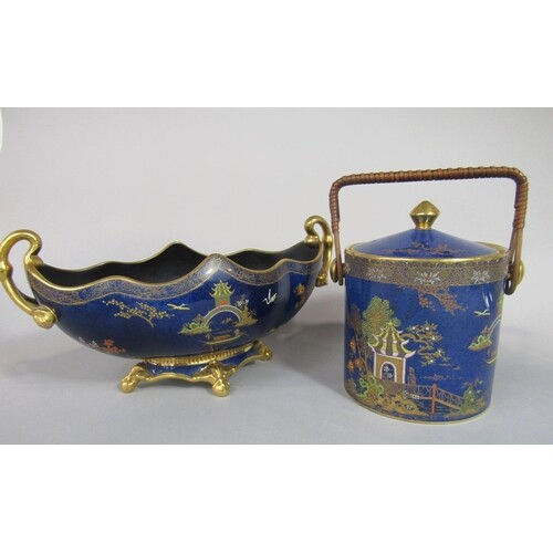 A Carlton ware blue ground two handled bowl of oval form wit...