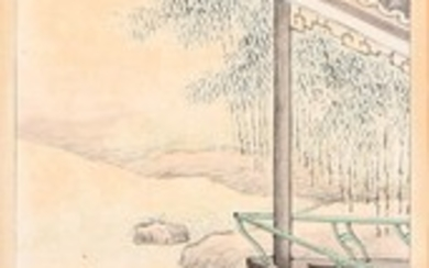 A Chinese watercolour on paper with two women. Signed. Mounted on cardboard. Image 139×39 cm.
