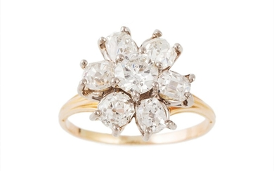 A DIAMOND CLUSTER RING, set with a brilliant cut diamond to ...