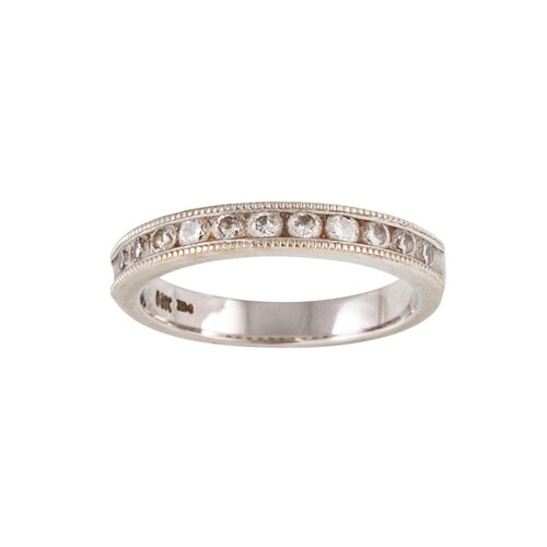 A DIAMOND HALF HOOP RING, the brilliant cut diamonds channel...