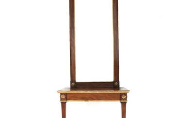 A Danish Louis XVI mahogany and giltwood mirror and wall-console. – Bruun Rasmussen Auctioneers of...