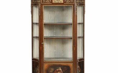 NOT SOLD. A French Transition style mahogany display cabinet wit gilt-bronze mountings. Marble tiop. Ca....