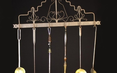 A Group of 18th/19th Century Kitchen Utensils on a Hanging Wrought Iron Rack fitted with six hooks a