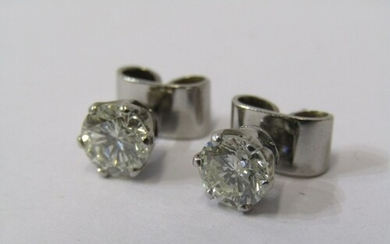 A PAIR OF 18ct WHITE GOLD DIAMOND STUD EARRINGS, Approx 2.1 ...
