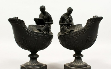 A PAIR OF WEDGWOOD BLACK BASALT VESTAL OIL LAMPS, one