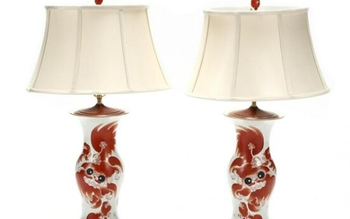 A Pair of Chinese Porcelain Foo Lion Vase Lamps