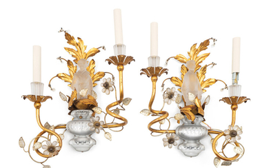 A Pair of Louis XV Style Frosted Glass and Gilt-Metal Appliques