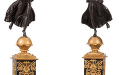A Pair of Monumental Neoclassical-Style Partial Gilt Bronze Seven-Light Candelabra Presented on Marble Pedestals