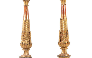 A Pair of Neoclassical Carved Giltwood Prickets
