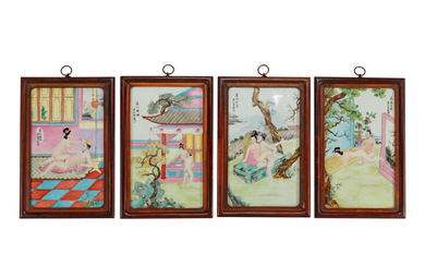 A Set of Four Chinese Export Enameled Erotic Porcelain Plaques